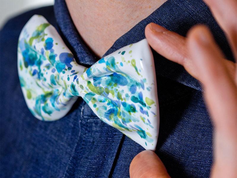 Papillon ceramica SKETCH verde/azzurro