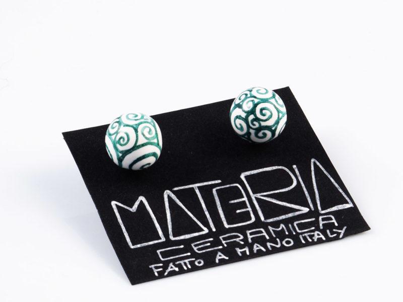 """Orecchini in ceramica """"Perle verde riccioli""""-Materia ceramica"""