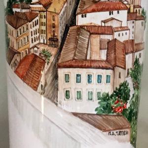 Vaso ceramica Perugia dipinto a mano - Collezione Paesaggio - particolare