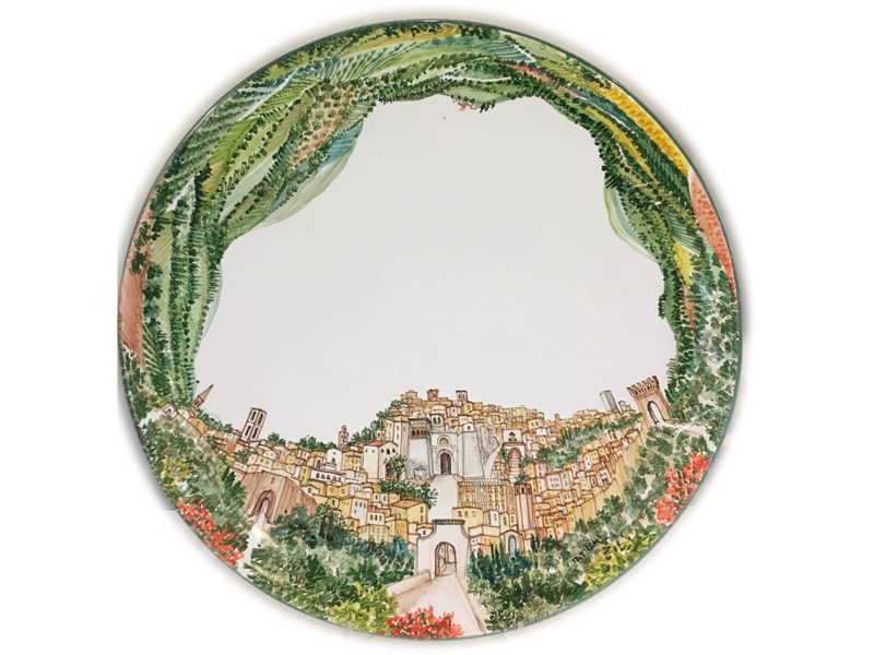 Piatto in ceramica con panorama di Perugia - Collezione Paesaggio - Materia Ceramica Perugia