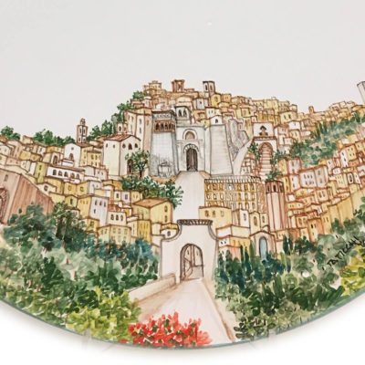 Piatto in ceramica con panorama di Perugia - Collezione Paesaggio - Materia Ceramica Perugia particolare