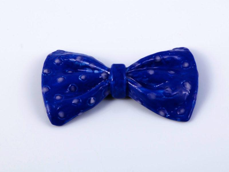 """Papillon in ceramica """"Blu elettrico a pois"""" - materia ceramica"""