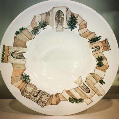"""Piatto ceramica Perugia """"Porte""""   Collezione VISIONI"""