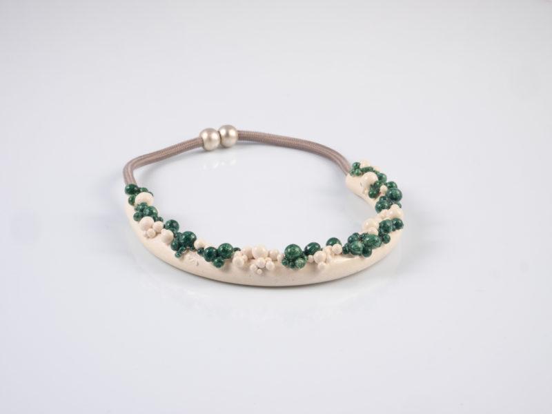 """Collana in ceramica """"Sfere verde petrolio"""" - materia ceramica"""