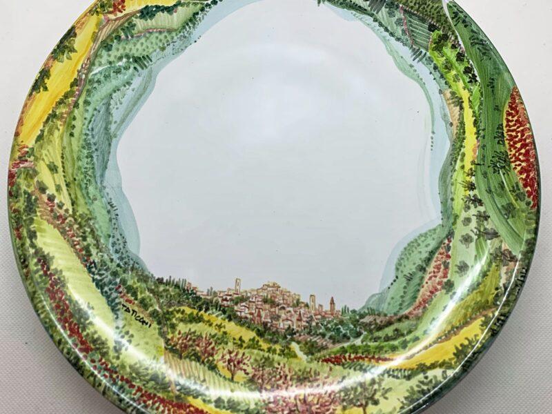 "Immagine Piatto in ceramica ""Paesaggio Perugia 360° Primavera """