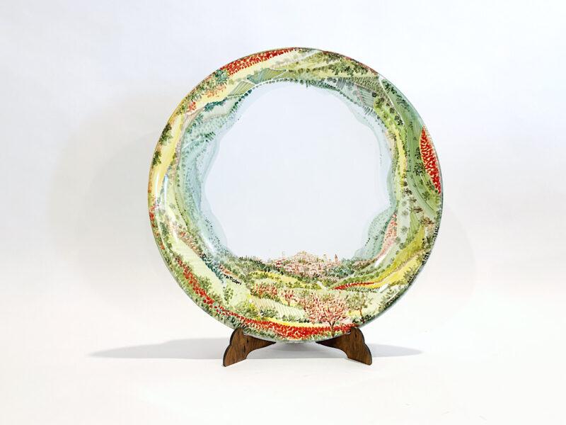 "Piatto in ceramica ""Paesaggio Perugia 360° Primavera """