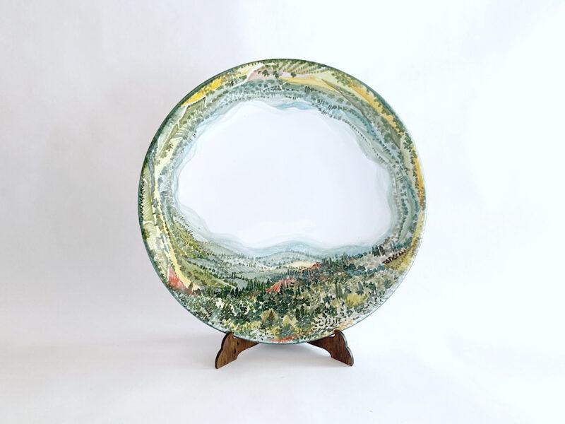 "Piatto in ceramica ""Paesaggio umbro-toscano 360°"""