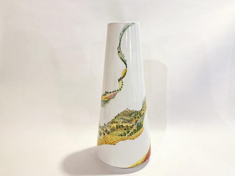 """Vaso in ceramica """"Visioni paesaggio umbro-toscano"""""""