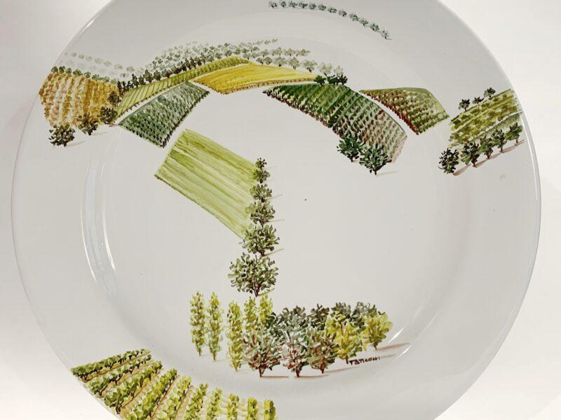 """Immagine Piatto in ceramica """"Visioni del paesaggio umbro-toscano"""""""