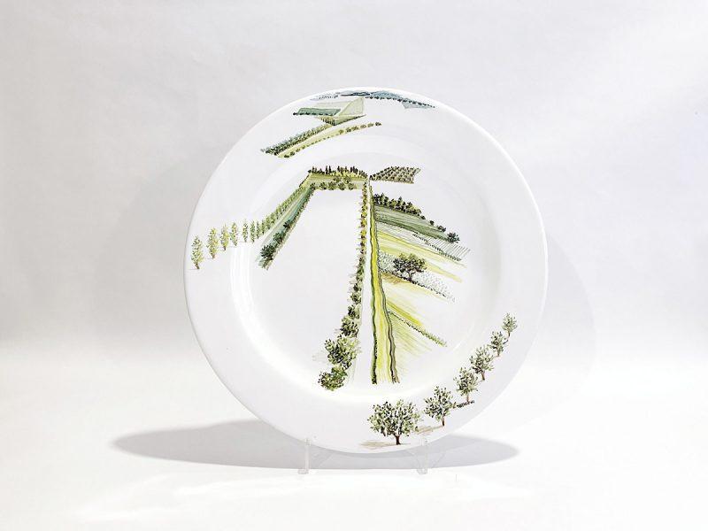 """Piatto in ceramica """"Visioni del paesaggio umbro-toscano"""""""