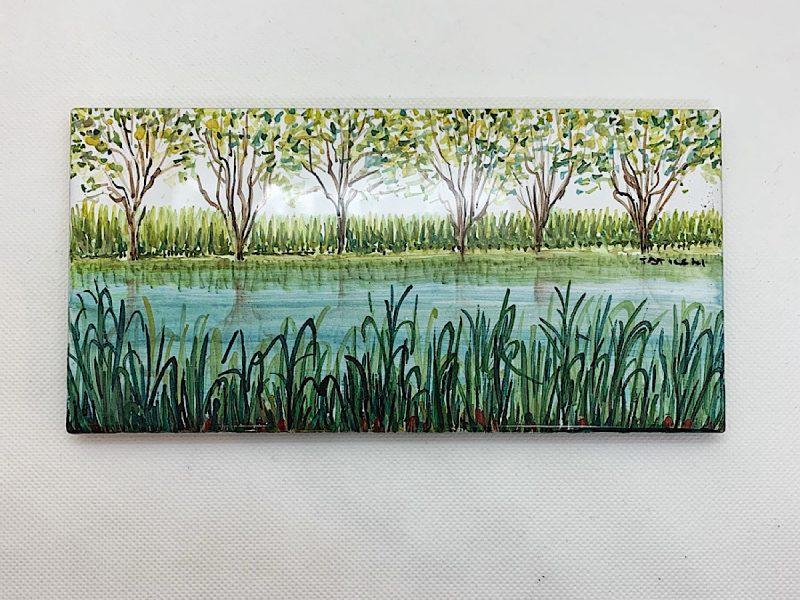 """Mattonella in ceramica """"Vista sul lago"""""""