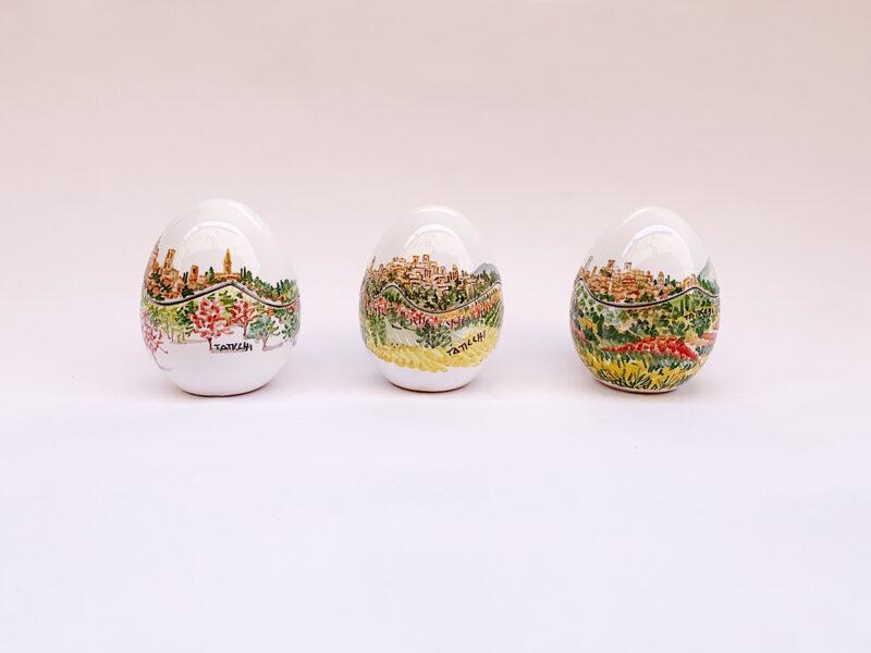 Uova-scatola in ceramica con vista su Perugia