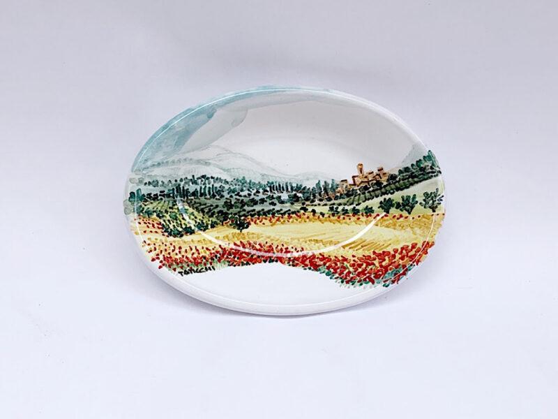 Piatto piccolo ovale con paesaggio umbro-toscano