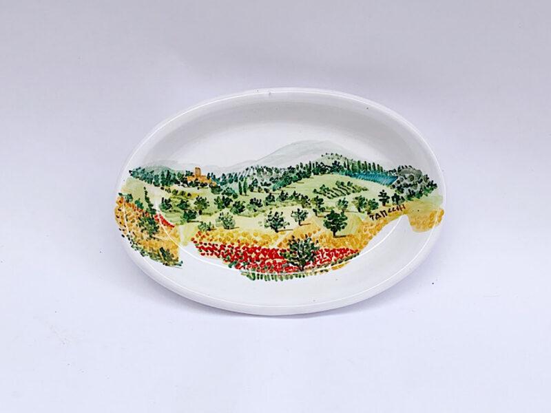 Piatto piccolo ovale con paesaggio grano