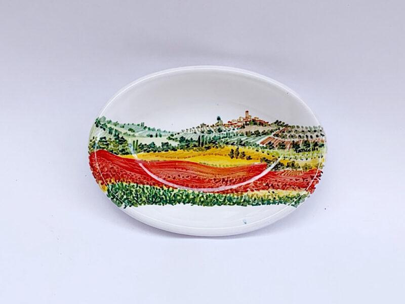 Piatto piccolo ovale con paesaggio papaveri