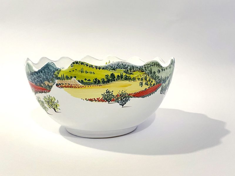 "Ciotola onde in ceramica ""paesaggio umbro-toscano"""