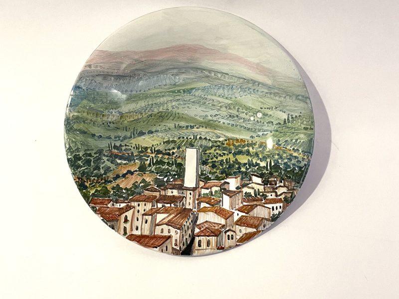 """Piattino in ceramica""""paesaggio perugino Torre degli Sciri"""""""