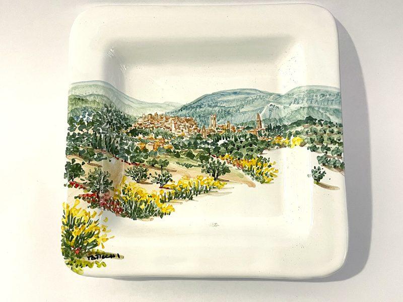 """Piattino quadrato in ceramica """"Skyline Perugia"""""""