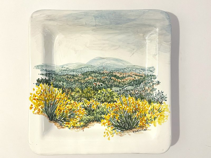 """Piatto quadrato in ceramica """"ginestre"""""""