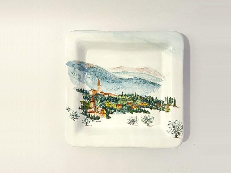 """Piatto quadrato in ceramica """"Borgo San Pietro"""""""