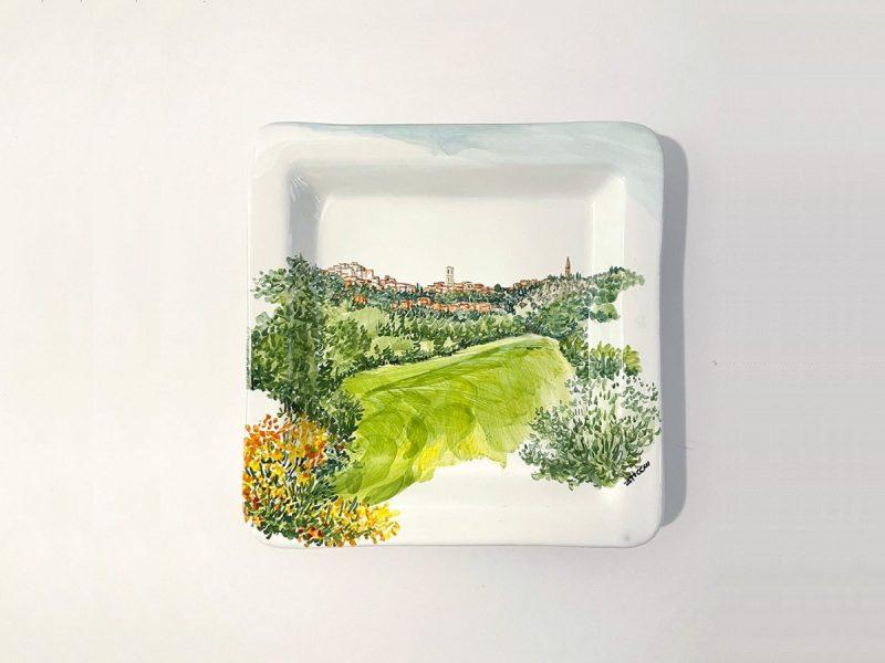"""Piatto quadrato in ceramica collezione paesaggio """"Skyline Perugia"""""""