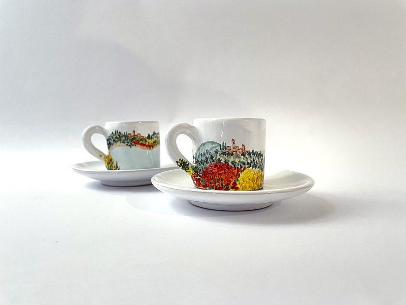 "Tazzina da caffè in ceramica ""paesaggio umbro-toscano"""