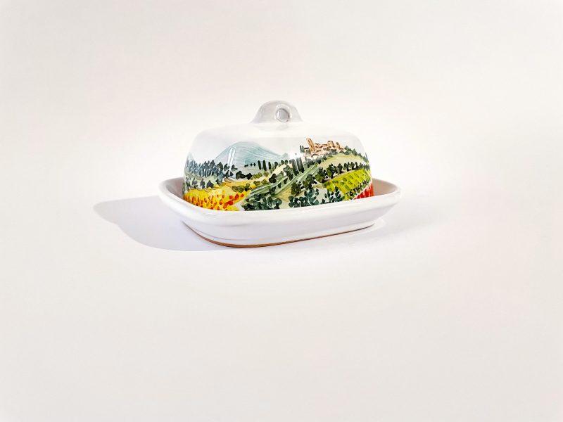 """Portaburro piccolo in ceramica """"paesaggio umbro-toscano"""""""