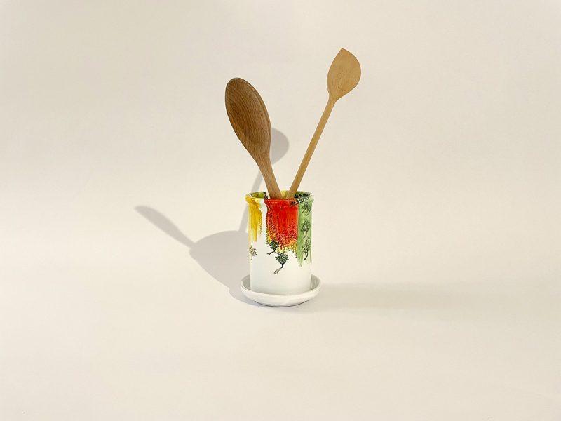"Scolaposate in ceramica ""Campi astratto"""