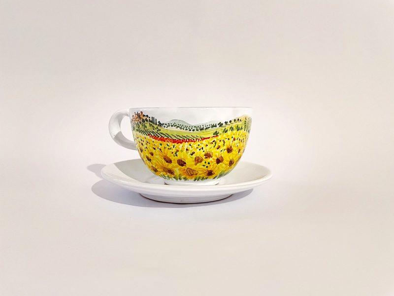"Tazza caffelatte in ceramica ""girasoli"""